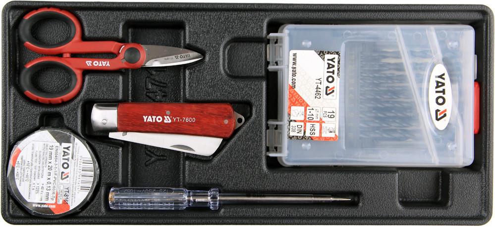 YATO Vložka do zásuvky - izol. páska, skúšačka, nožnice, montážna nôž, sada vrtákov 1 -